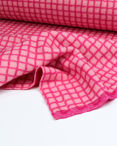 Two-Faced Grid Check Knit Fabric - Pink