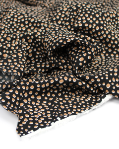 Viscose Challis Fabric - Cheetah Spot Black