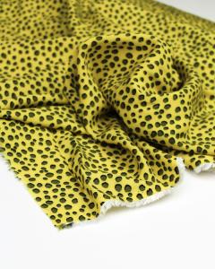 Viscose Challis Fabric - Cheetah Spot Yellow