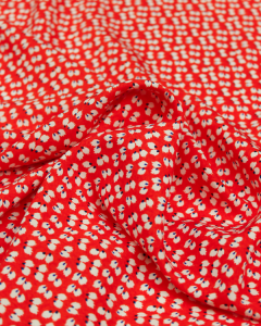 Viscose Challis Fabric - Feather Petal Tomato