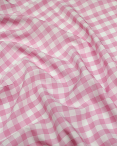 Viscose Challis Fabric - Pink Gingham