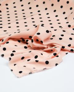 Viscose Challis Lawn Fabric - Black & Pink Polka Dot