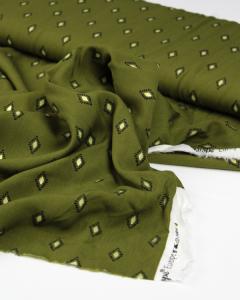 Viscose Challis Lawn Fabric - Safi Diamond Olive