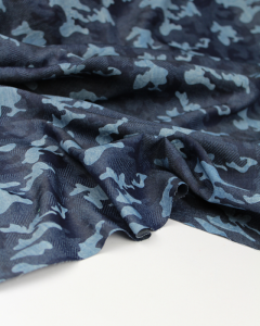 Viscose Chambray Fabric - Denim Camo