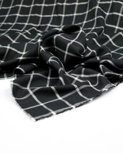 Viscose Crepe Fabric - Mono Grid Check
