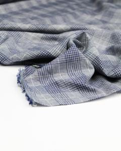 Viscose & Linen Fabric - Indigo Check
