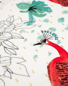 Viscose Lurex Dobby Fabric - Painted Peacock