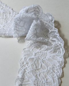 Stretch Lace Trim - 95mm - Sunflower White