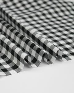 Yarn Dyed Cotton Fabric - 1cm Gingham Black