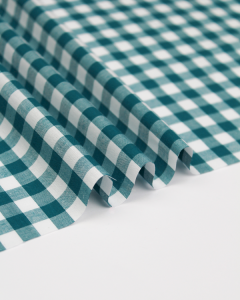 Yarn Dyed Cotton Fabric - 1cm Gingham Teal