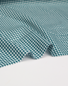 Yarn Dyed Cotton Fabric - 3mm Gingham Teal
