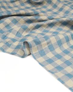 Yarn Dyed Linen Fabric - Cornflower Gingham