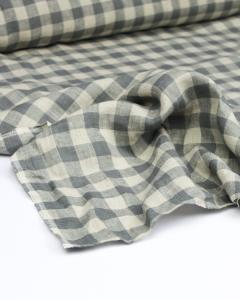 Yarn Dyed Linen Fabric - Pebble Gingham