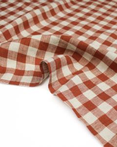 Yarn Dyed Linen Fabric - Rust Gingham