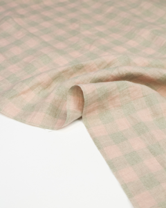 Yarn Dyed Linen Fabric - Shell Gingham