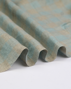 Yarn Dyed Linen Fabric - Spa Gingham